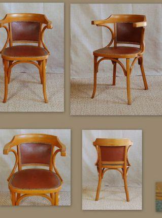 Fauteuil bureau style bistrot BAUMANN simili cuir clouté année 50