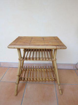 table basse en rotin année 50