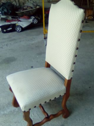 6 chaises rustiques bois et tissu