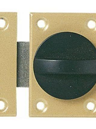 Verrou à bouton tournant à ressort - Vachette - Coffre acier verni
