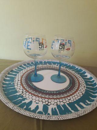 2 verres à pied pastis 51, par designer Cédric Malo (Tabas)