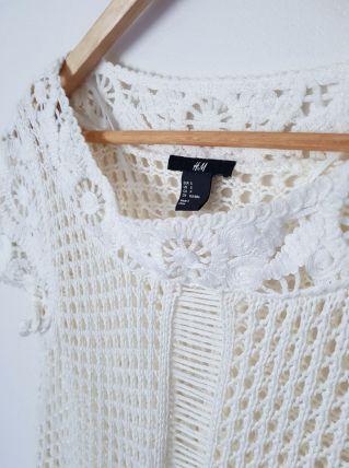 Petit top blanc cassé dentelle H&M