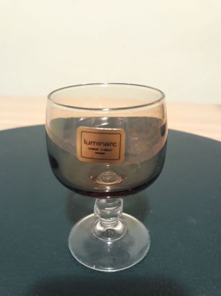 6 verres  liqueur brun gris fumé,  luminarc - VINTAGE
