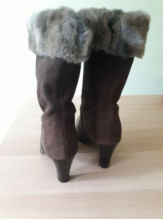 bottines nubuck marron, avec fourrure, taille 39