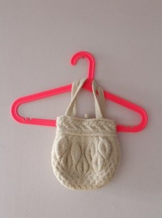 Petit sac vintage en laine et coton
