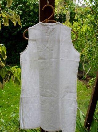 Chemise longue légère en coton blanc col Mao 38