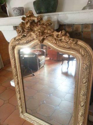 Grand miroir ancien en bois doré style Louis XV
