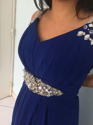 Robe de soirée bleue ceinture+bretelles strass