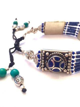 Bracelet Ethnique Indien Bleu