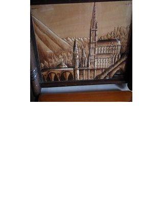 plateau art déco vintage en bois pyrogravure sous verre