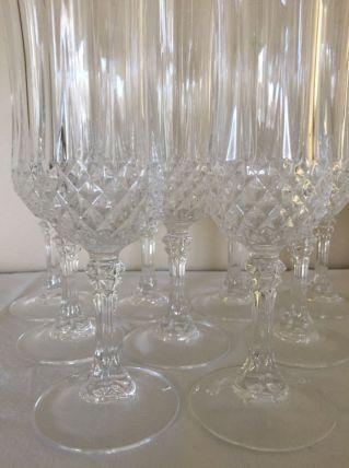 9 flûtes à champagne Cristal d'Arques