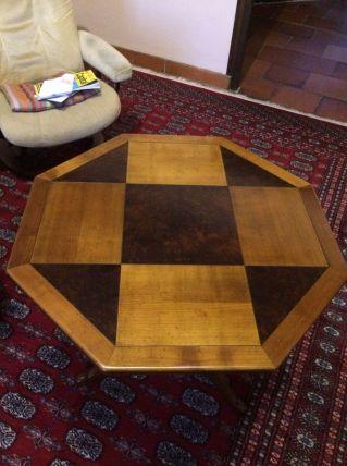table guéridon hexagonale en merisier et noyer
