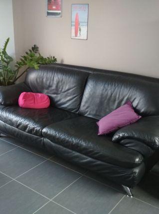 Canapé cuir noir Monsieur Meuble