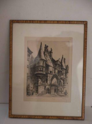 Gravure marcel bessan le vieux paris: l'hôtel de Sens 10/250