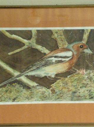 Tableau peinture oiseau signé