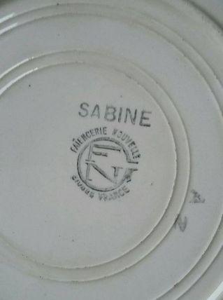 8 assiettes creuses faïence modèle Sabine