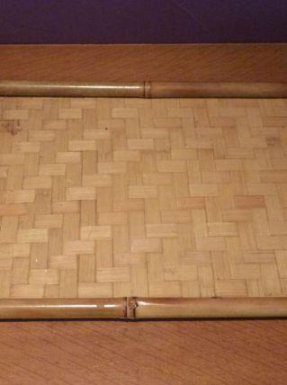 Lot plateau bambou et vide poche tressé