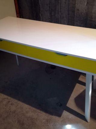 Bureau blanc & jaune ou console Alinea