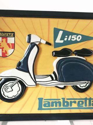 Tableau en bois sculpté vintage Lambretta