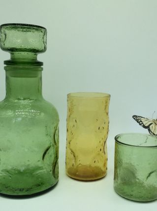 Carafe 70's et gobelets verre à bulles