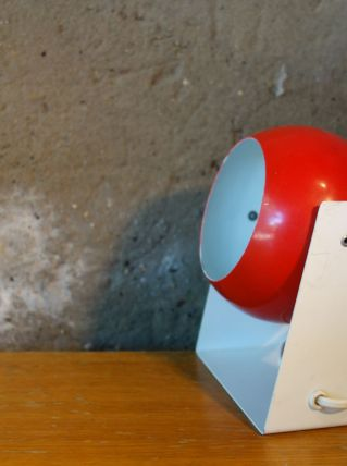 Lampe Eye Ball rouge et blanche vintage