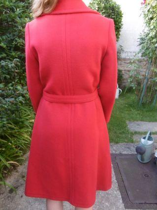 manteau vintage en lainage rouge années 70