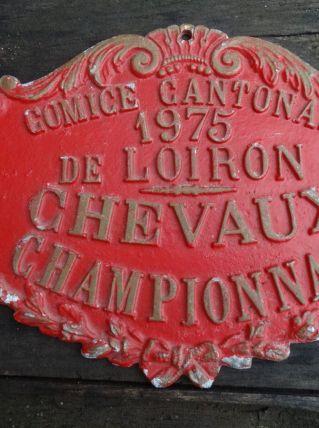 PLAQUE COMICE AGRICOLE 1975 CHEVAUX LOIRON CHAMPIONNAT