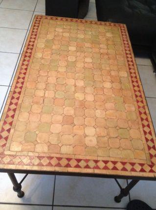 Table marocaine en mosaïque et fer forge