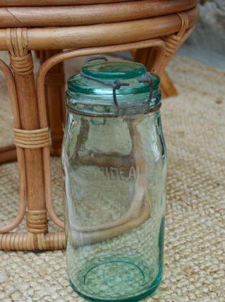 Bocal ancien l'Idéale vert clair cintré 1,5 litres