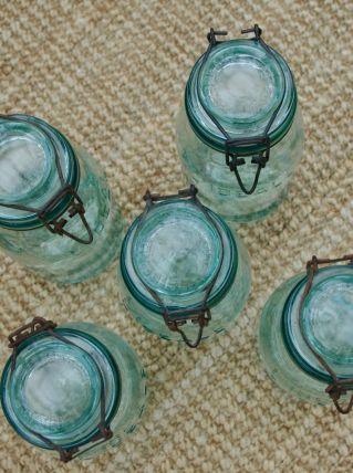 Bocal ancien L'Idéale vert clair 1 litre