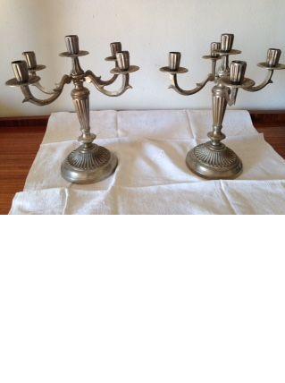 Paire de chandeliers anciens  en métal