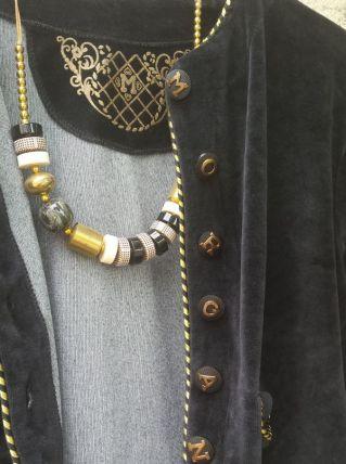 Collier perles noires et dorées
