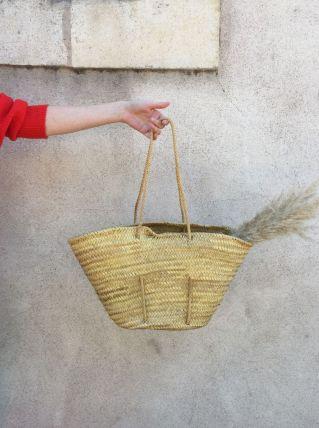 Panier sac cabas paille tressée