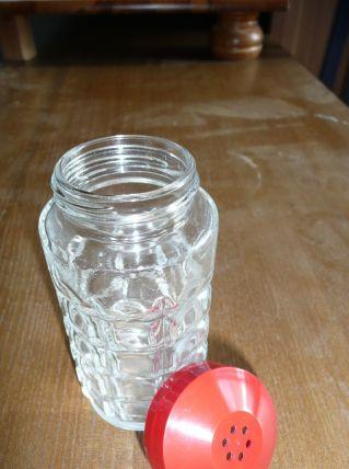 Sucrier ou salière verre épais à facettes vintage