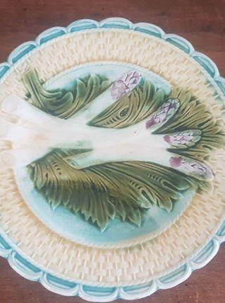 6 assiettes asperges en Barbotine de Salins - Vintage