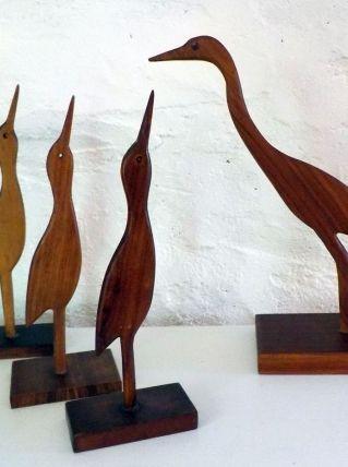 Statuettes Oiseaux en bois