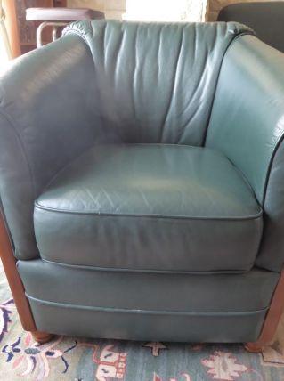 Salon cuir vert et bois + fauteuil