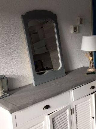 Miroir Gauthier en bois gris pâtiné