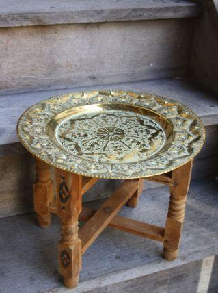 PETITE TABLE D'APPOINT MAROCAINE BOIS ET LAITON
