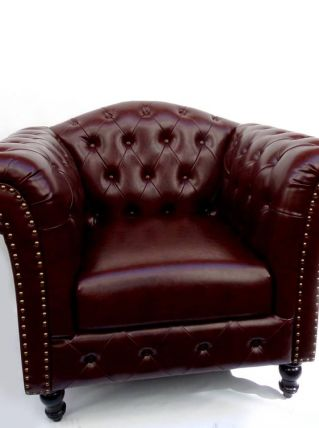 Fauteuil Chesterfield Vintage aspect Cuir marron