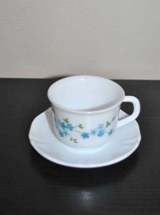 2 Tasses à café soucoupe arcopal Myosotis