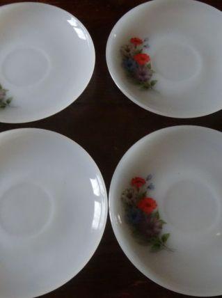 4 soucoupes Arcopal Liserons