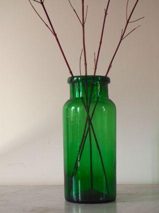 Bocal en verre soufflé de couleur vert foncé
