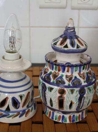 PETITE LAMPE A POSER ETHNIQUE CERAMIQUE MAROCAINE