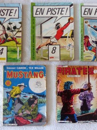 Lot 5 BD En Piste Pirates Mustang Vintage Bandes Dessinnées