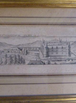 cadre gravure du château des Clayes