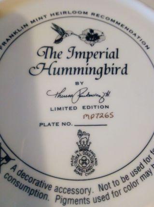 Assiette The Impérial Hummingbird
