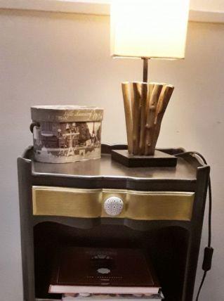 Chevet style Louis 15 noir et or
