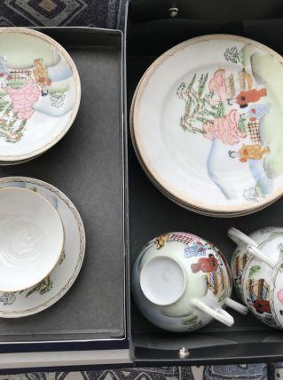 Service complet cafe et dessert en porcelaine fine chinoise