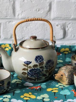 Service à thé japonais en grés et rotin motif pivoines 1970